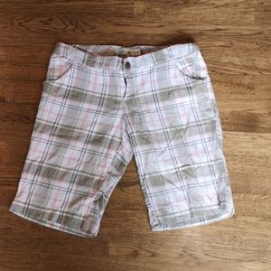 Roxy Green, White, Pink Plaid Bermuda Shorts 9